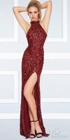 Mac Duggal High Collar Sequin Open Back Thigh Slit Prom Dress