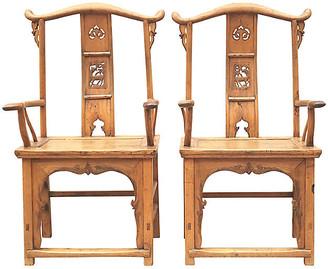 One Kings Lane Vintage 19th C. Chinese Elm Yolk Chairs - Set of 2 - Eat Drink Home