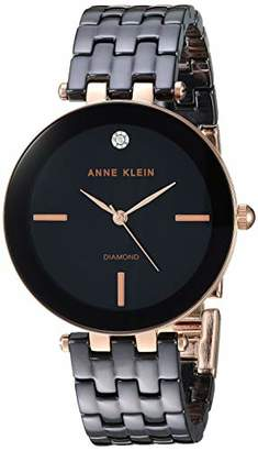 Anne Klein Women's AK/3310BKRG Diamond-Accented Rose Gold-Tone and Black Ceramic Bracelet Watch