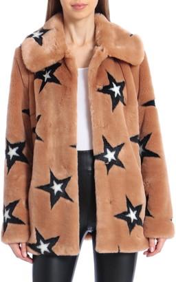 AVEC LES FILLES Star Print Faux Fur Swing Coat