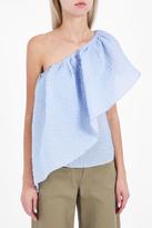 Rosie Assoulin Asymmetric Ruffle Sash Top
