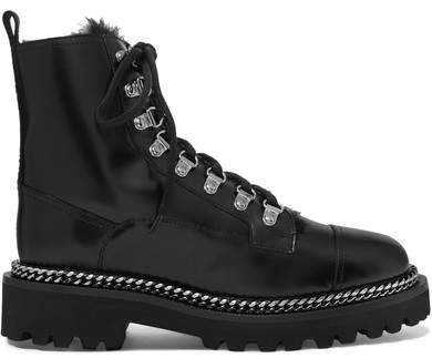 Balmain Chain-embellished Shearling-lined Leather Ankle Boots - Black