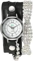 La Mer Women's Quartz Silver-Tone and Leather Watch, Color:Black (Model: LMDELCRY1504)