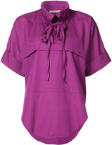 Nina Ricci lace-up blouse - women - Cotton - 34