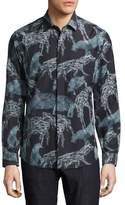 Salvatore Ferragamo Safari Animals Silk-Cotton Sport Shirt, Black