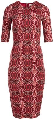 Alice + Olivia Delora Fitted Mock Neck Midi Dress