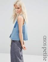 Asos Denim Sleeveless Shirt with Raw Edge and Shadow Pocket
