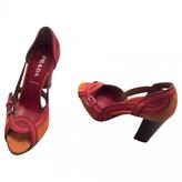 Prada Orange Suede Sandals