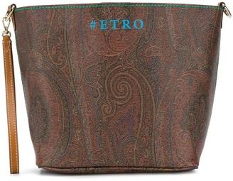 Etro Paisley Logo Print Tote Bag