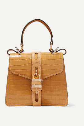 Chloé Aby Small Croc-effect Leather Tote - Yellow