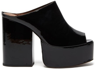 Osman Brigitte Patent-leather Platform Mules - Black