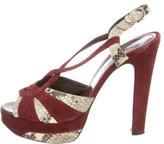 Barbara Bui Suede Snakeskin-Trimmed Sandals
