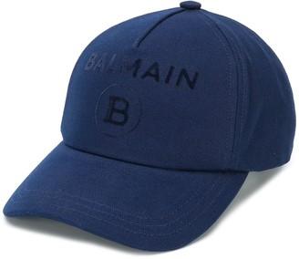 Balmain Logo Print Baseball Cap