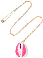 Aurelie Bidermann 18-karat Gold Porcelain Shell Necklace - Pink