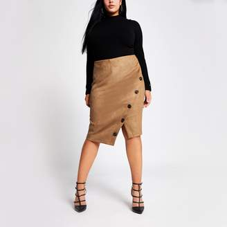 River Island Womens Plus Brown suede button front pencil skirt