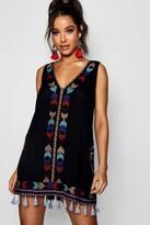 boohoo Cheese Cloth Embroidered Tassel Sun Dress