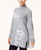 Style&Co. Style & Co Embroidered Turtleneck Tunic Sweater, Created for Macy's