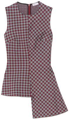 Rosetta Getty Gingham Fluted Top in Aqua/Burgundy