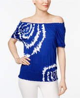 INC International Concepts Petite Tie-Dyed Off-The-Shoulder Top, Created for Macy's