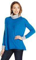 Magaschoni Women's Turtle Neck with Contract Cuff