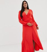 Asos DESIGN Curve puff shoulder wrap maxi dress with high split in red