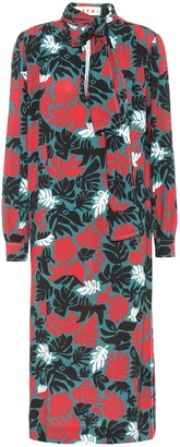 Marni Floral stretch-crepe midi dress