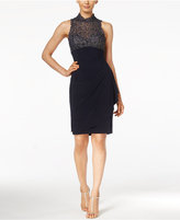 Xscape Evenings Metallic Lace Draped Dress