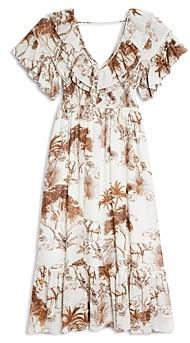 Sandro Jolay Printed Ruffled Dress