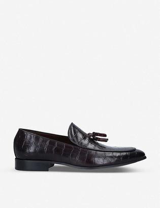 Kurt Geiger Luigi croc-embossed leather loafers