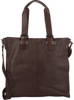 Barneys New York MEN'S TOP-ZIP TOTE BAG-DARK BROWN