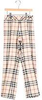 Burberry Girls' House Check Straight-Leg Pants