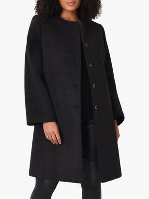 Live Unlimited Curve Knee Length A-Line Coat, Black