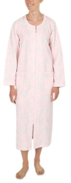 Miss Elaine Etched Floral Quilted Long Zipper Robe