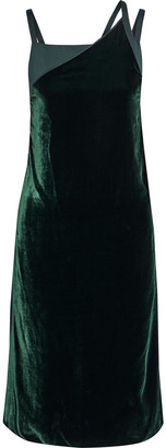 Helmut Lang Satin-paneled Velvet Dress