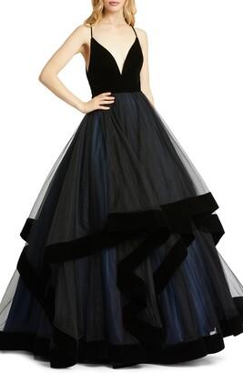 Mac Duggal Tiered Velvet & Tulle Empire Ballgown
