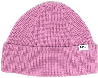 A.P.C. Logo-Patch Ribbed Beanie