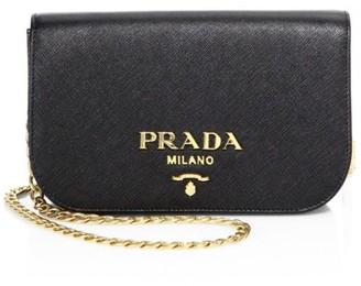 Prada Bandoliera Leather Chain Clutch
