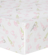 Trend Lab Pink & Green Garden Gnomes Flannel Fitted Crib Sheet