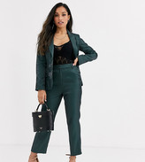 Fashion Union Petite tailored pants coord with pleat detail in green satin
