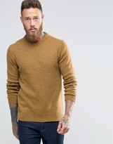 Asos Lambswool Rich Crew Neck Sweater in Mustard Twist