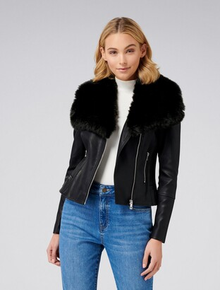 Forever New Tessa PU Faux Fur Collar Biker Jacket - Black - 4