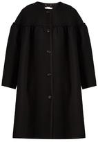 Chloé Collarless ruffle-trimmed wool-blend coat