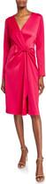 Jay Godfrey V-Neck Long-Sleeve Knot-Front Satin Dress