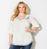 Avenue Embroidered Vine Peasant Top