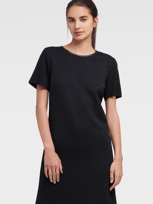 DKNY Women's Textured Short Sleeve Dress - Black - Size XX-Small