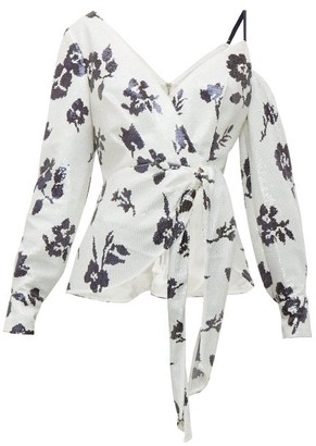 Self-Portrait Floral-sequinned Asymmetric Blouse - Womens - Cream Navy