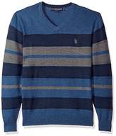 U.S. Polo Assn. Men's Stretch Textured Stripe V-Neck Sweater