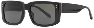 Linda Farrow Luxe Morrison black rectangle-frame sunglasses