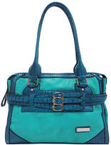 Dasein Blue Croc-Embossed Belted Tote