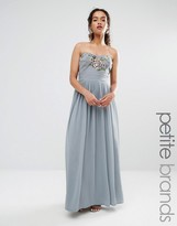 Maya Petite Embroidered Bandeau Maxi Dress